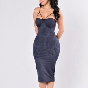 FASHION NOVA Navy Blue Suede Dress - SIZE L